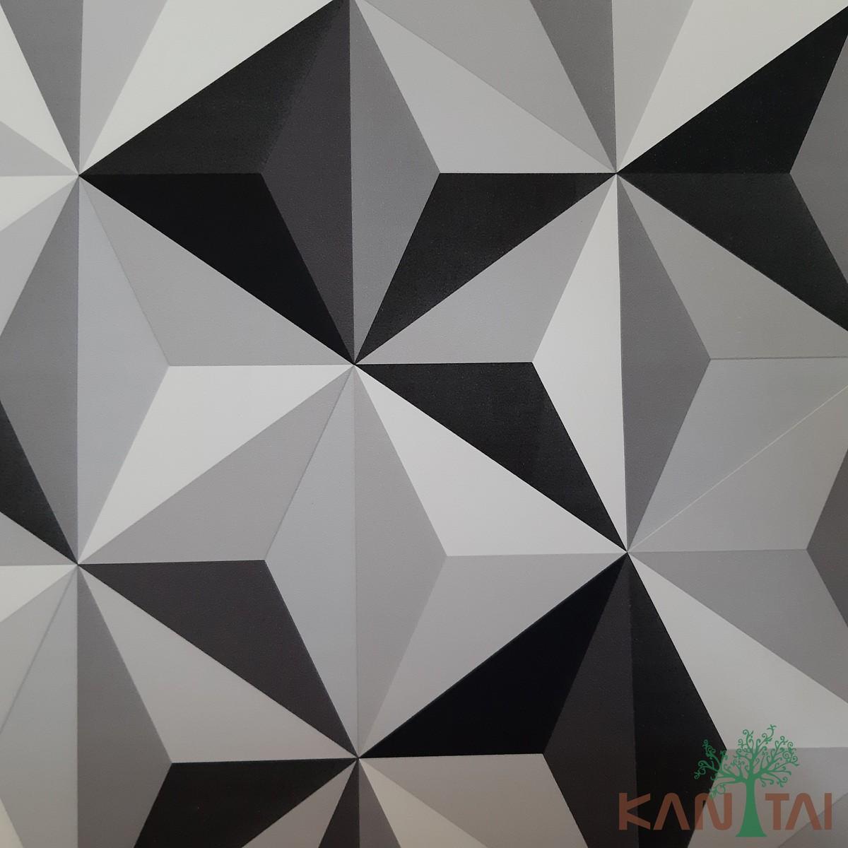 Papel de Parede Kan Tai Vinílico Coleção Grace 3 Geométrico 3D Preto, Branco, Cinza