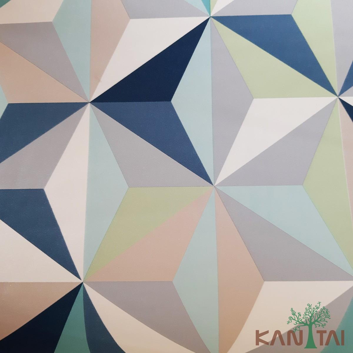 Papel de Parede Kan Tai Vinílico Coleção Grace 3 Geométrico 3D Azul, Branco, Verde