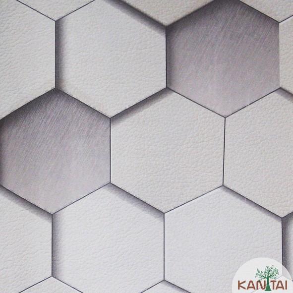 Papel de Parede Kan Tai Vinílico Coleção Grace 3 Geométrico 3D Tons cinza