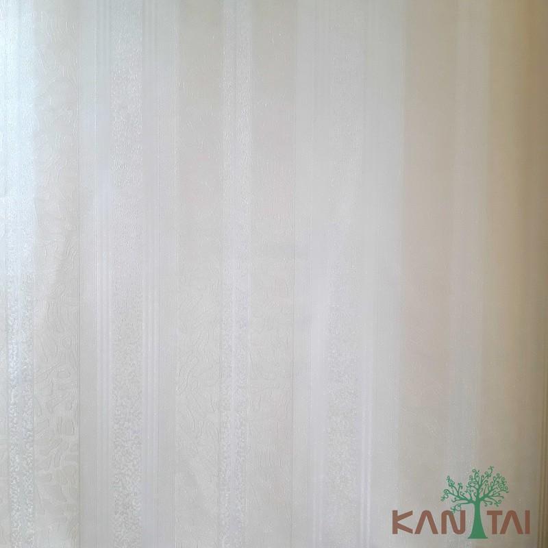 Papel de Parede Kan Tai Vinílico Coleção Grace 3 Listrado Creme, Detalhes abstrato