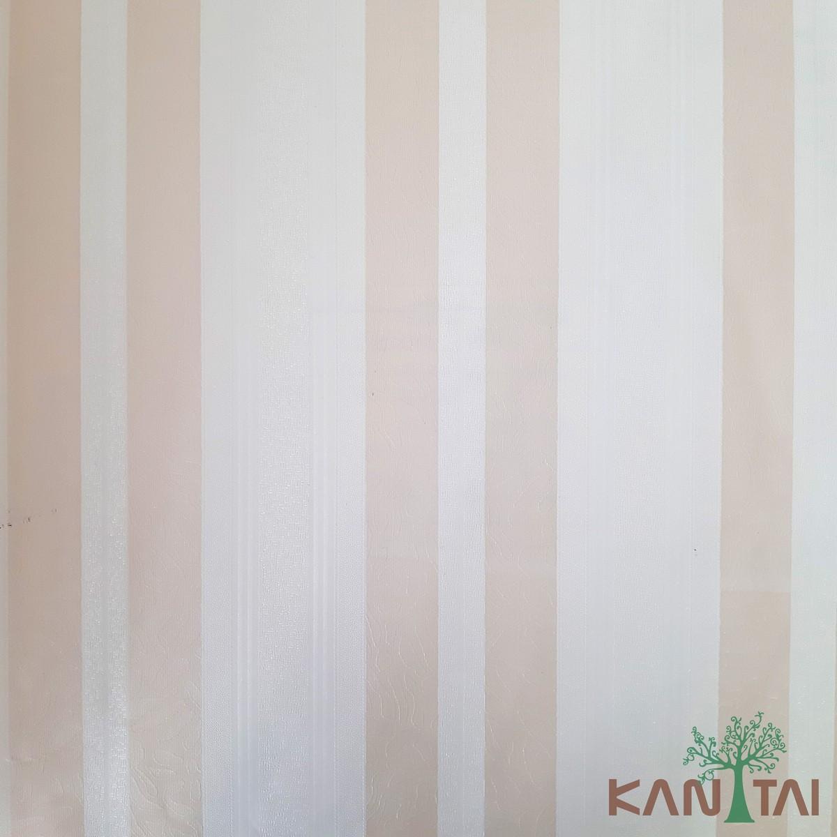 Papel de Parede Kan Tai Vinílico Coleção Grace 3 Listrado Salmão, Creme, Detalhes Abstrato