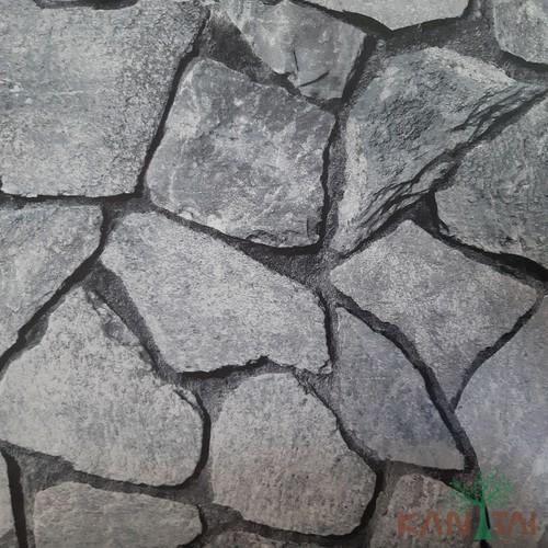 Papel de Parede Kan Tai Vinílico Coleção Grace 3 Pedras Cinza esverdeado, Preto