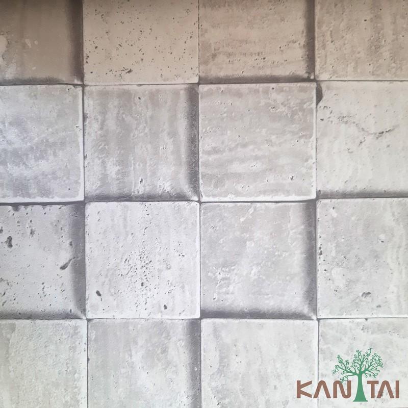 Papel de Parede Kan Tai Vinílico Coleção Grace 3 Pedras Cinza