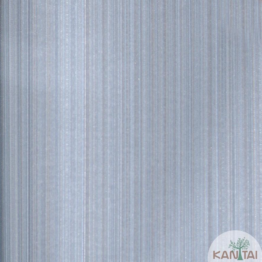 Papel de Parede Kan Tai Vinílico Coleção Grace 3 Textura Listrado Listras Finas Azul, Prata, Dourado, Detalhes, Brilho