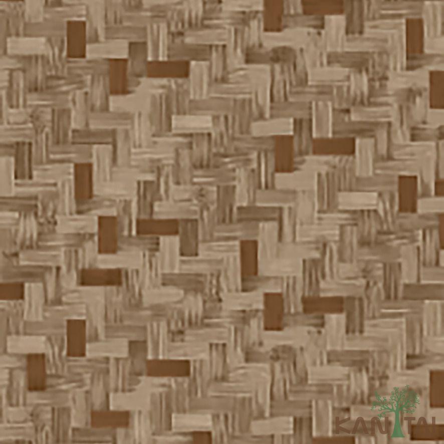 Papel de Parede Kan Tai Vinílico Coleção Stone Age 2 Geométrico madeira tons marrom