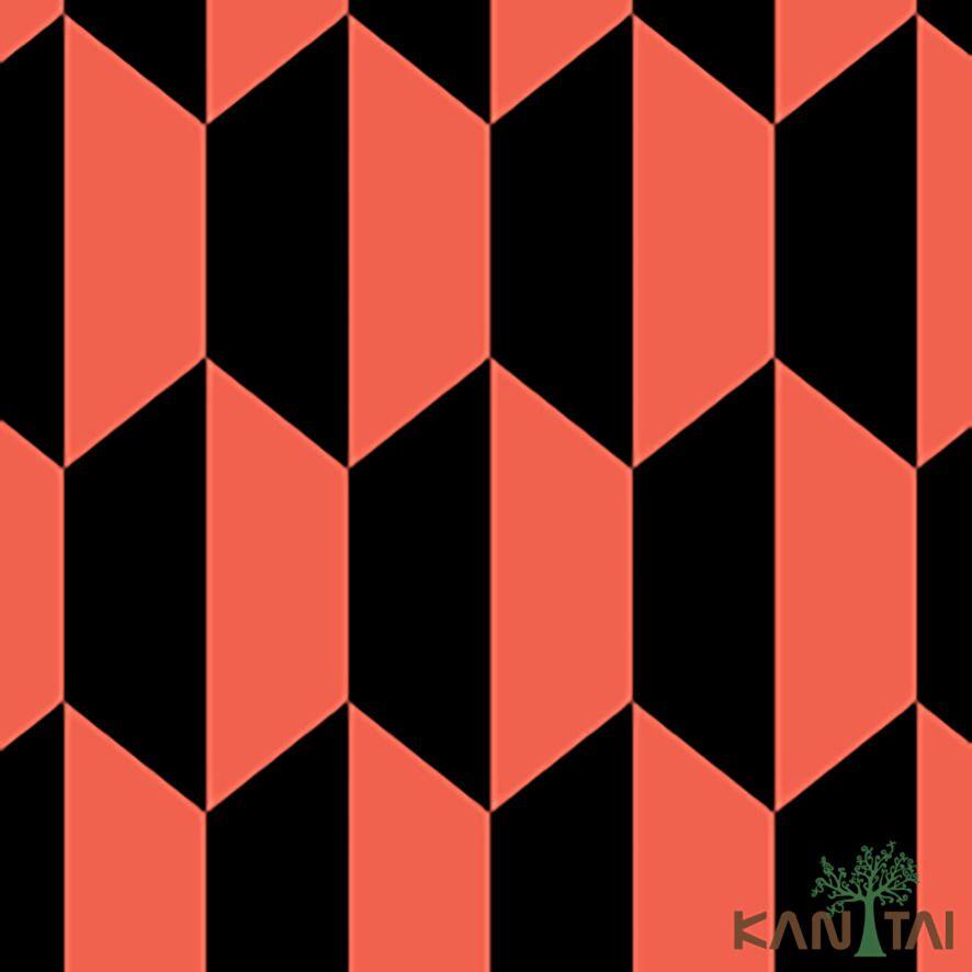 Papel de Parede Kan Tai Vinílico Coleção Stone Age 2 Geométrico Preto, Vermelho orange