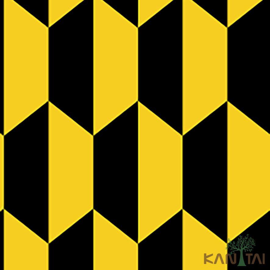 Papel de Parede Kan Tai Vinílico Coleção Stone Age 2 Geométrico Preto, Amarelo