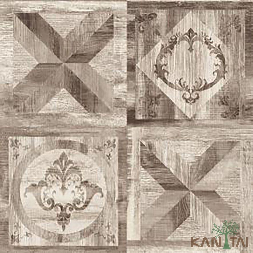 Papel de Parede Kan Tai Vinílico Coleção Stone Age 2 Geométrico Arabesco Tons marrom