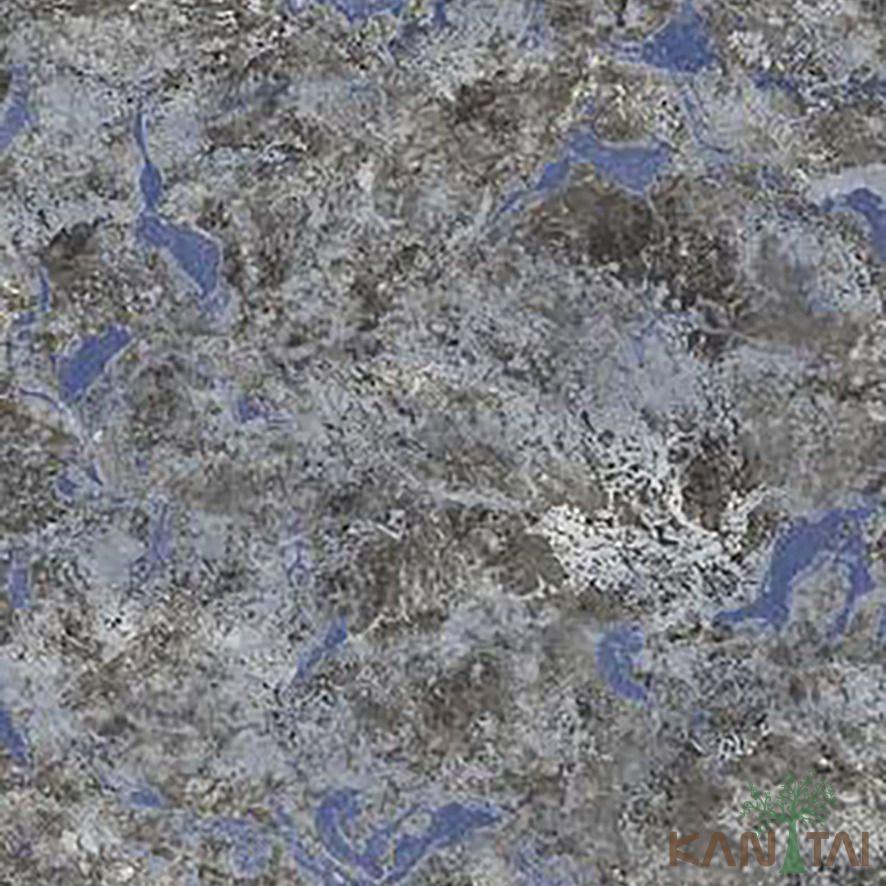 Papel de Parede Kan Tai Vinílico Coleção Stone Age 2 Textura Cimento Azul anil, Cinza, Preto, Detalhes