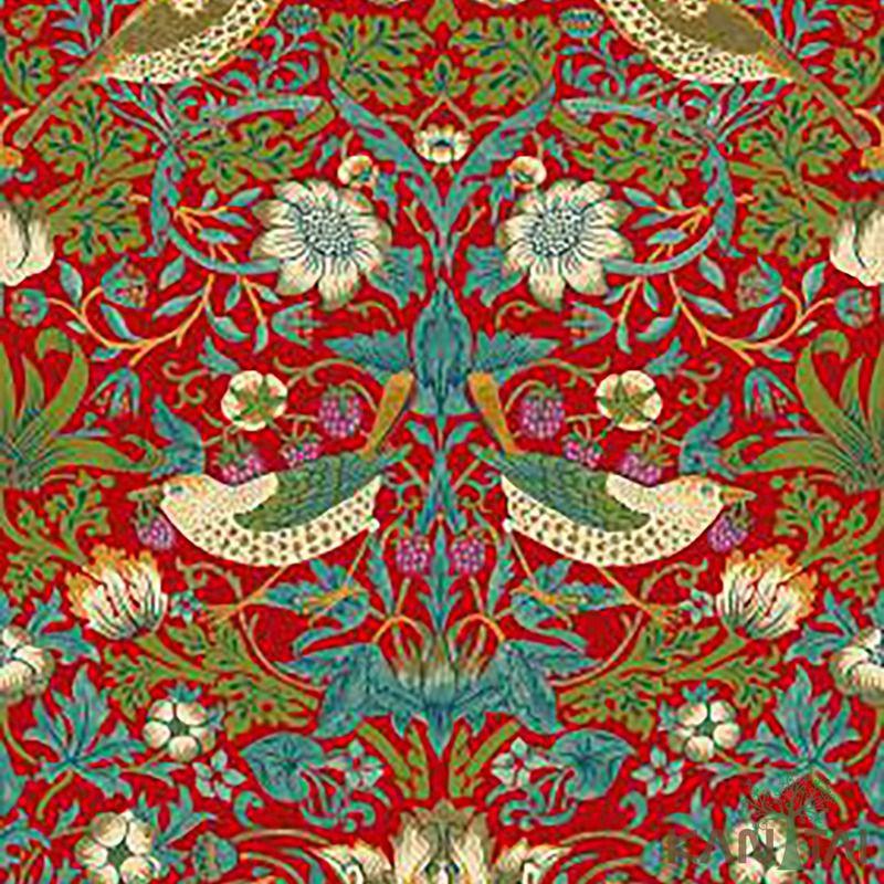 Papel de Parede Kan Tai Vinílico Coleção Stone Age 2 Floral Pássaros vermelho, Verde, Azul, Branco