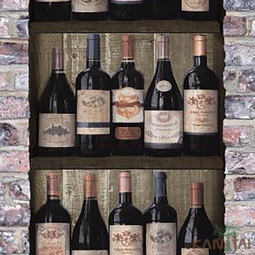 Papel de Parede Kan Tai Vinílico Coleção Stone Age 2 Garrafas de vinho Preto, Marrom claro, Bege