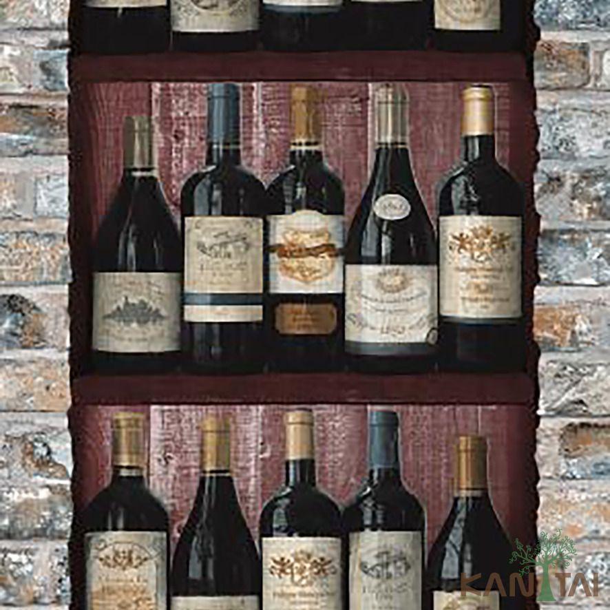 Papel de Parede Kan Tai Vinílico Coleção Stone Age 2 Garrafas de vinho Preto, Marrom escuro, Creme
