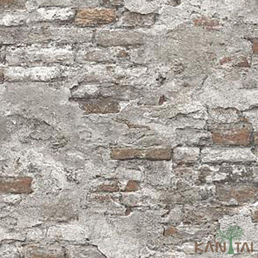 Papel de Parede Kan Tai Vinílico Coleção Stone Age 2 Tijolo demolição Marrom, Cinza