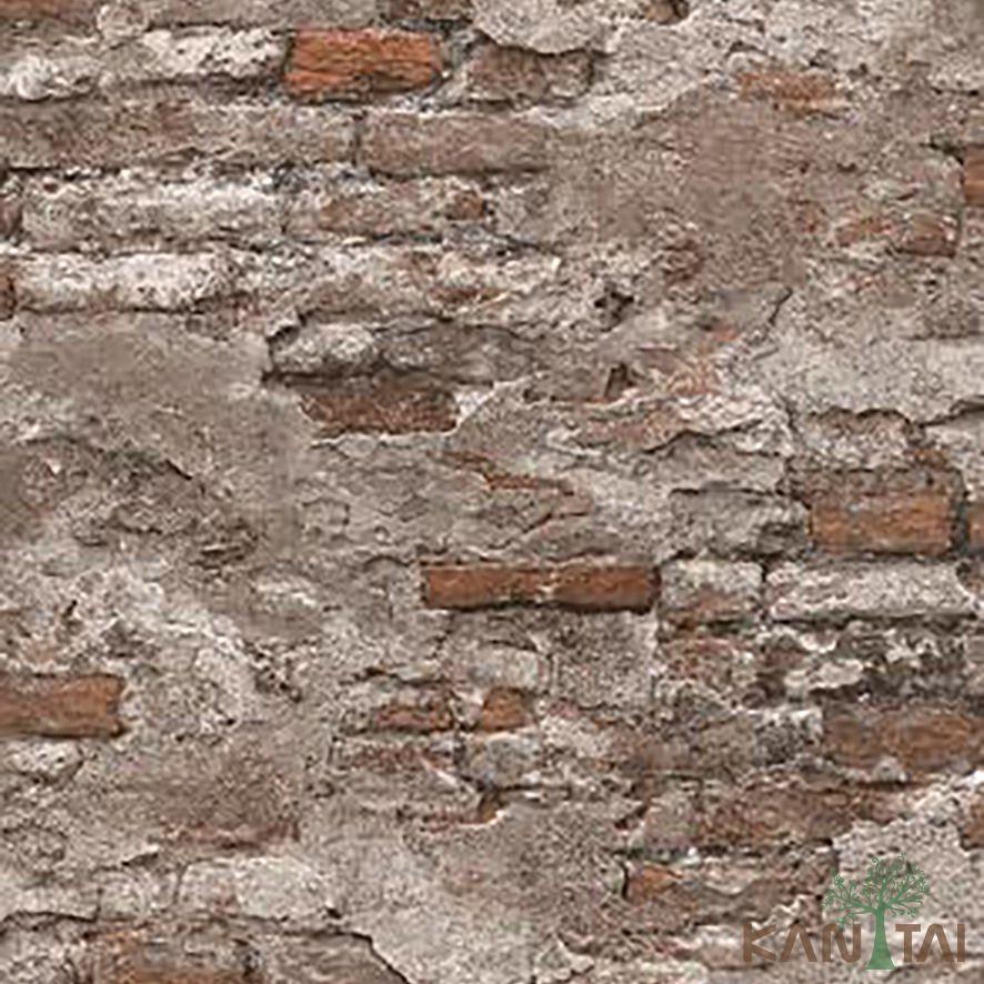 Papel de Parede Kan Tai Vinílico Coleção Stone Age 2 Tijolo demolição Vermelho, Cinza claro