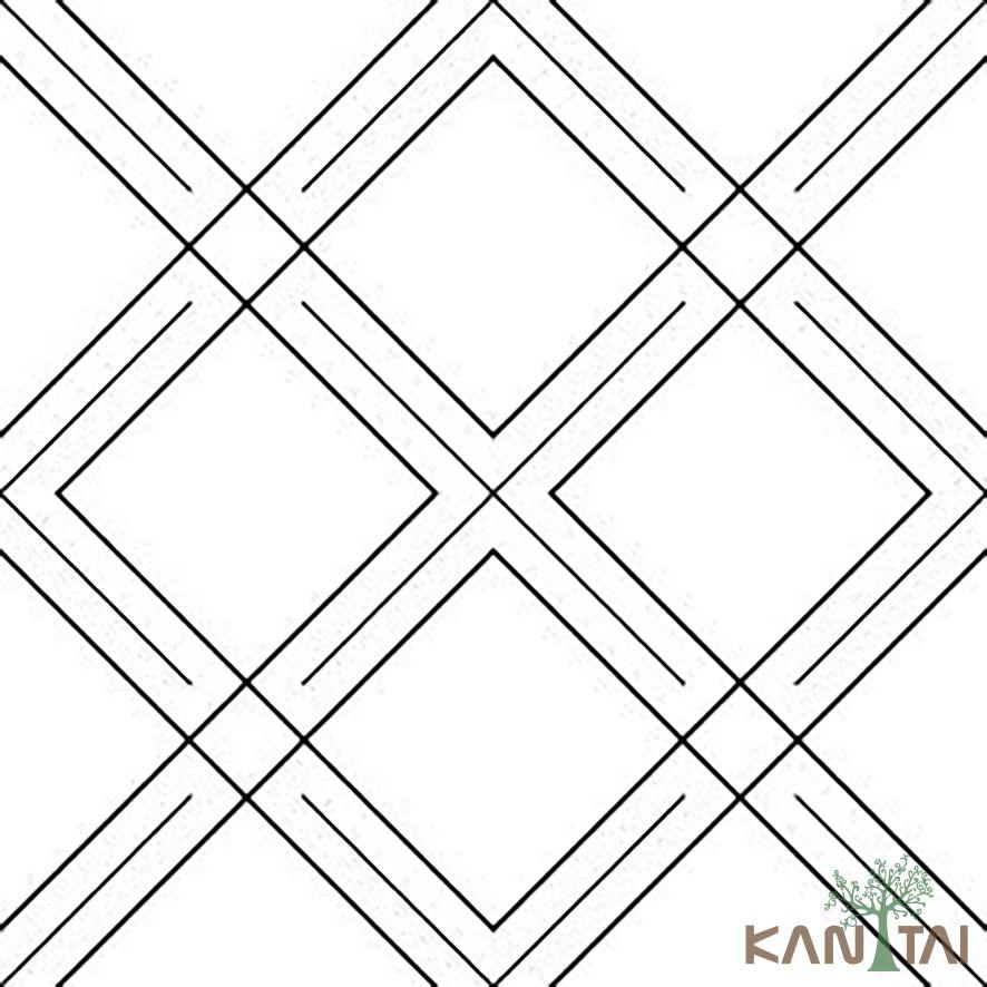 Papel de Parede Kan Tai Vinílico Coleção Stone Age 2 Geométrico Branco, Preto