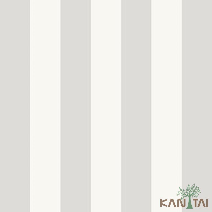 Papel de Parede Kan Tai Vinílico Coleção Stone Age 2 Listras Cinza, Off white
