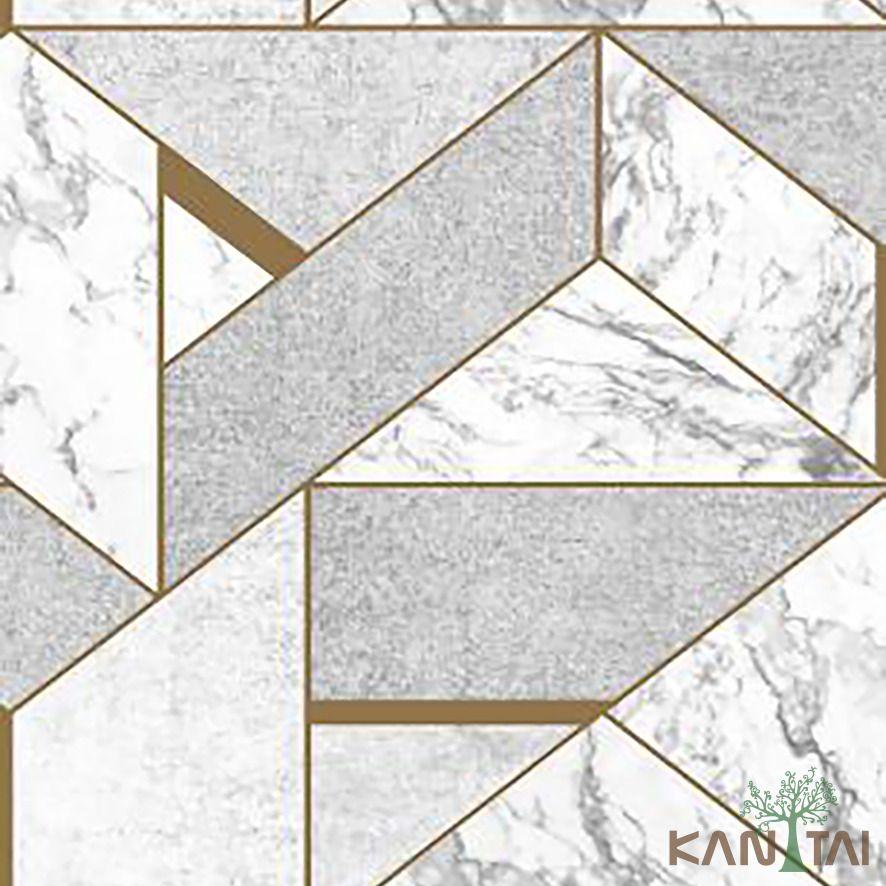 Papel de Parede Kan Tai Vinílico Coleção Stone Age 2 Geométrico Cinza, Creme, Dourado
