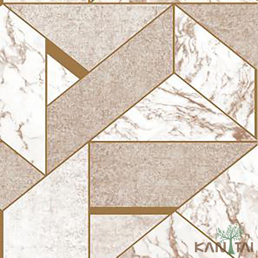 Papel de Parede Kan Tai Vinílico Coleção Stone Age 2 Geométrico Bege, Creme, Dourado