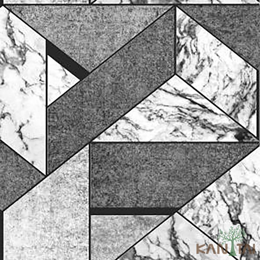 Papel de Parede Kan Tai Vinílico Coleção Stone Age 2 Geométrico Tons preto, Creme