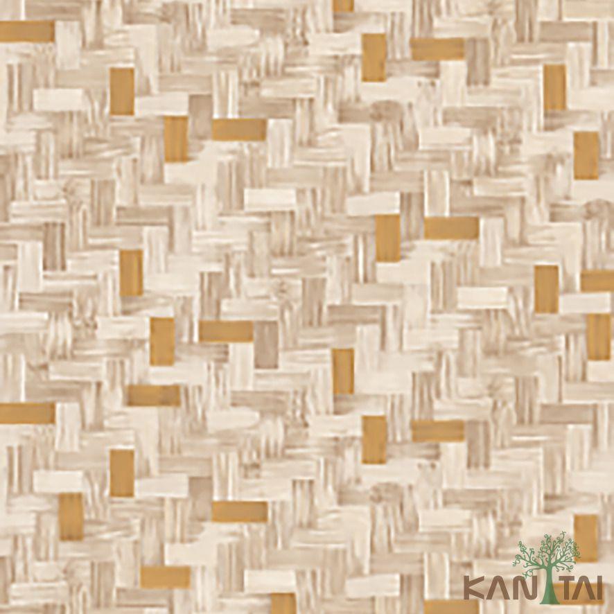 Papel de Parede Kan Tai Vinílico Coleção Stone Age 2 Geométrico madeira Tons marrom, bege