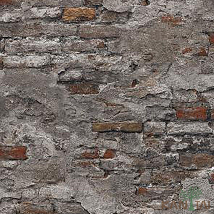 Papel de Parede Kan Tai Vinílico Coleção Stone Age 2 Tijolo demolição Vermelho, Cinza