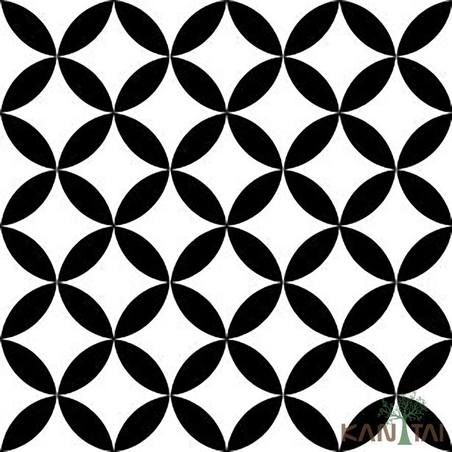 Papel de Parede Kan Tai Vinílico Coleção Stone Age 2 Geométrico Preto, Branco