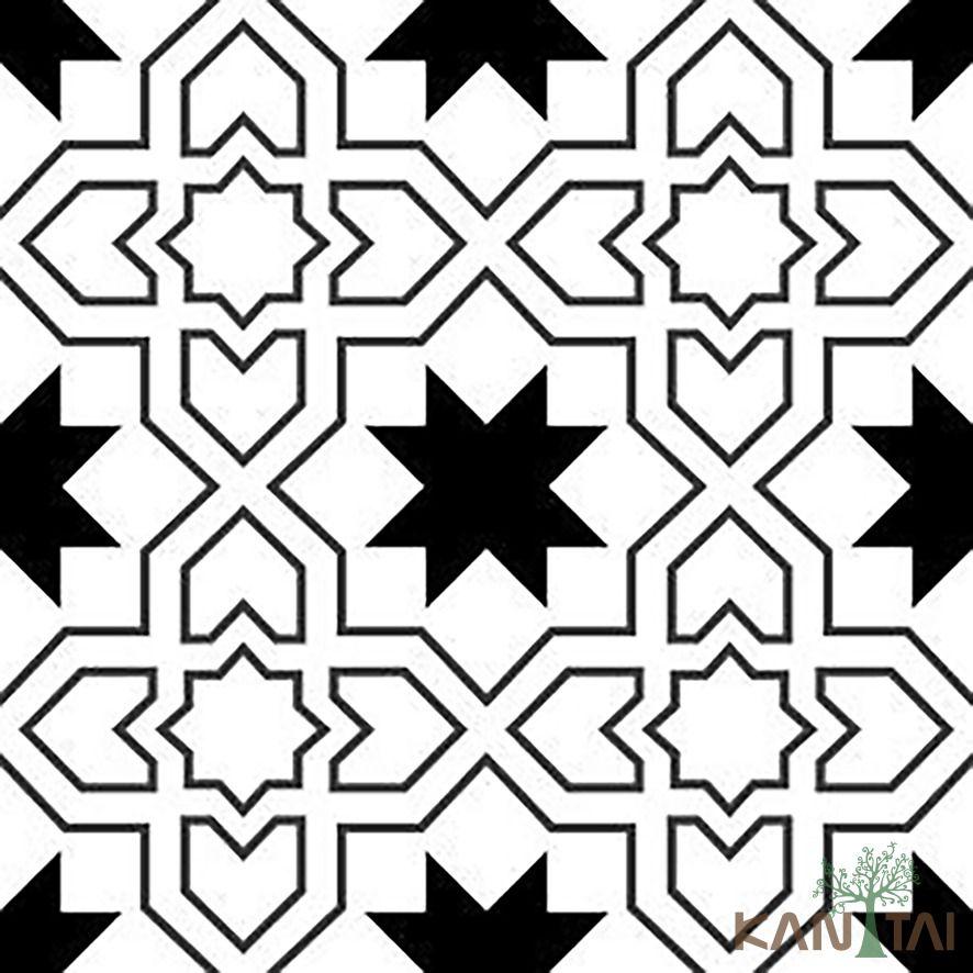 Papel de Parede Kan Tai Vinílico Coleção Stone Age 2 Geométrico Branco, Preto, Cinza
