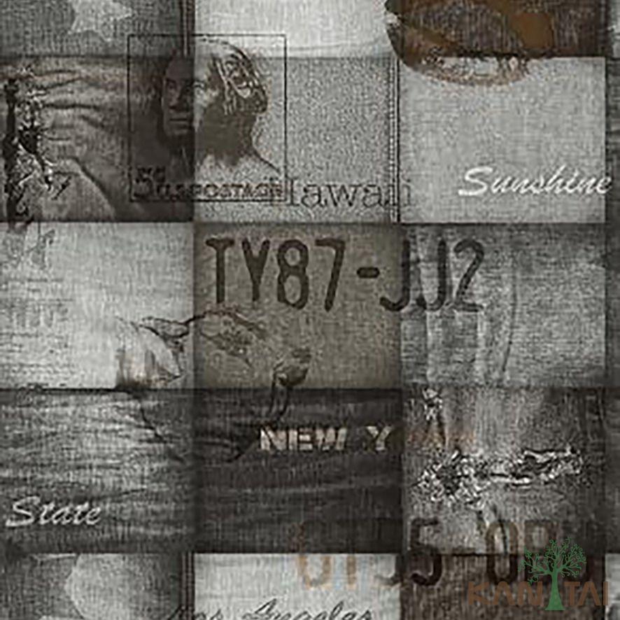 Papel de Parede Kan Tai Vinílico Coleção Stone Age 2 Geométrico Tecido Tons Jeans Acinzentado