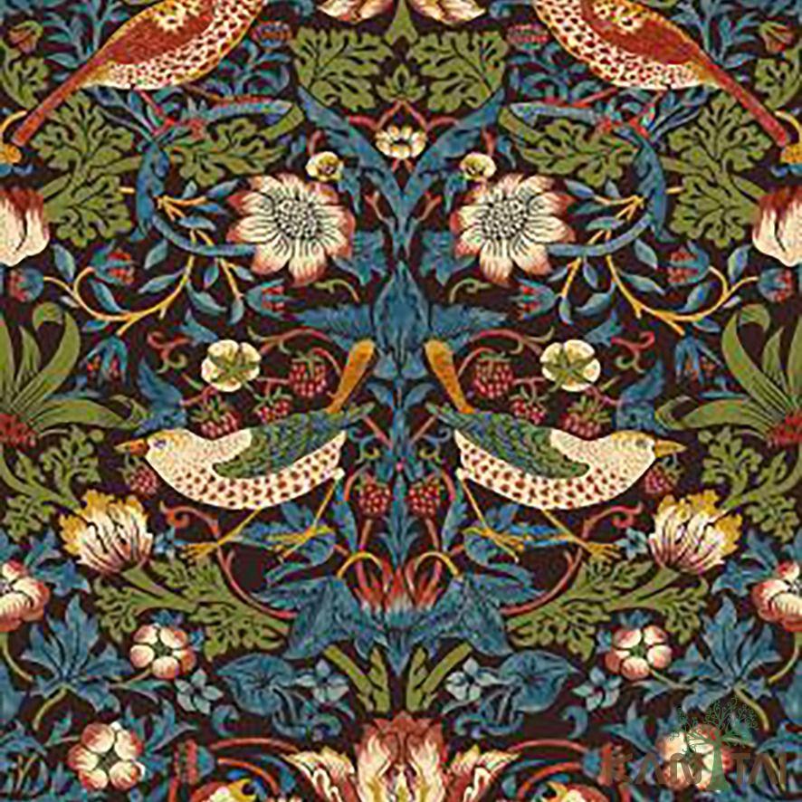 Papel de Parede Kan Tai Vinílico Coleção Stone Age 2 Floral Pássaros Azul marinho, Verde, Coral