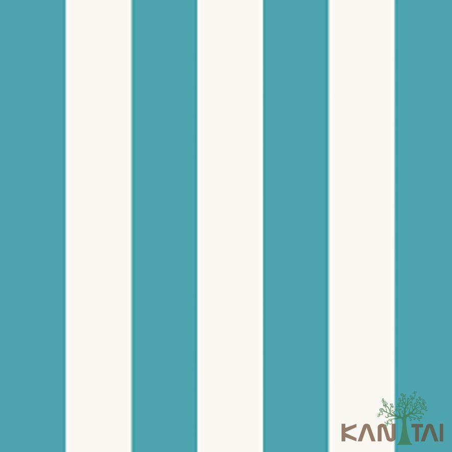 Papel de Parede Kan Tai Vinílico Coleção Stone Age 2 Listras Azul, Branco