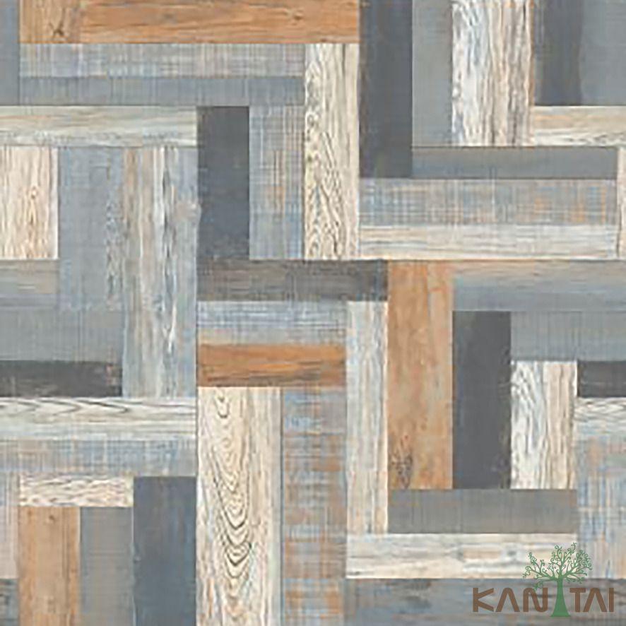 Papel de Parede Kan Tai Vinílico Coleção Stone Age 2 Madeira colorida Tons marrom, Cinza, Creme