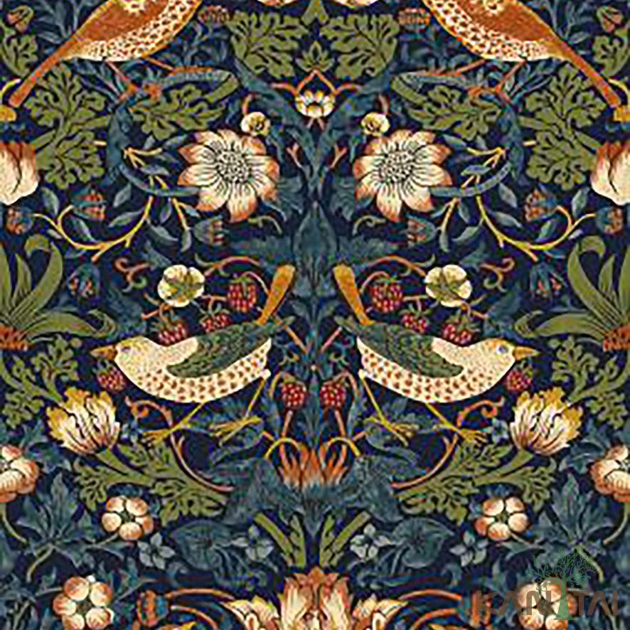 Papel de Parede Kan Tai Vinílico Coleção Stone Age 2 Floral Pássaros Roxo, Verde, Vermelho, Azul