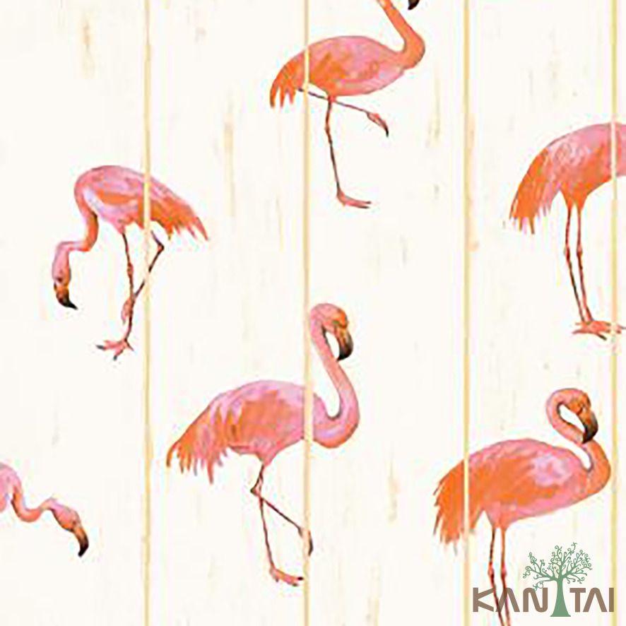 Papel de Parede Kan Tai Vinílico Coleção Stone Age 2 Pelicanos Rosa, Creme