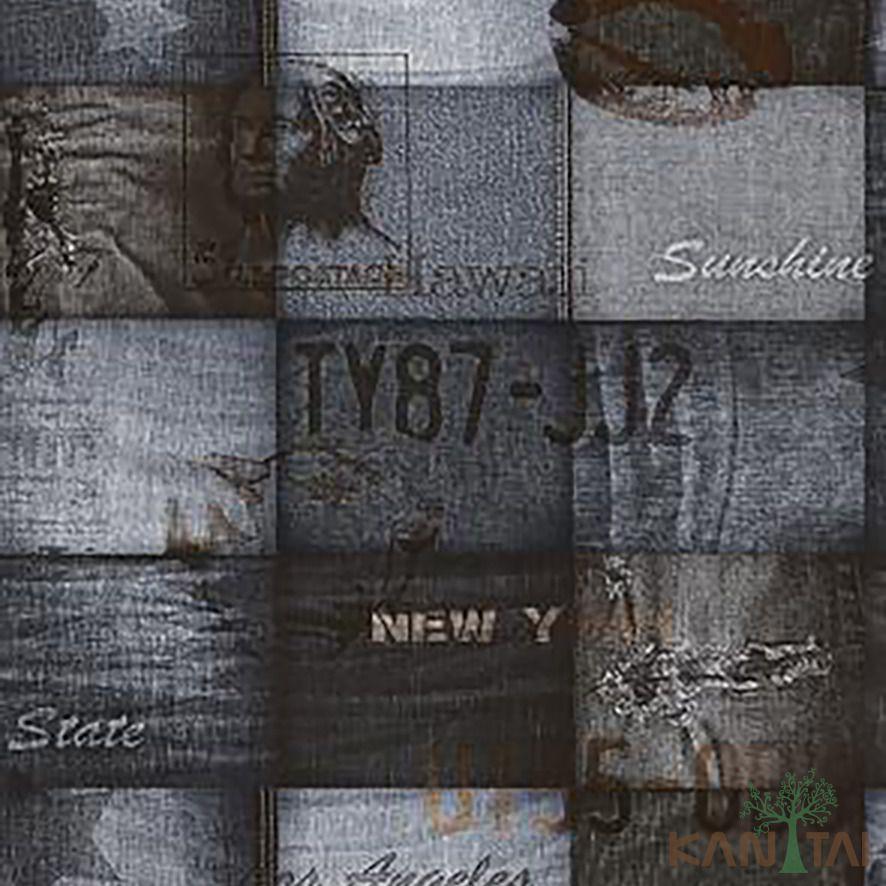 Papel de Parede Kan Tai Vinílico Coleção Stone Age 2 Geométrico Tecido Tons Jeans