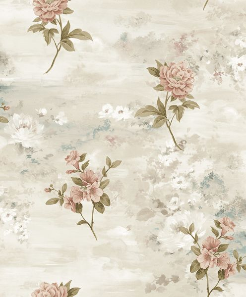 Papel de Parede Kan Tai  Vinílico Coleção Poet Chart 3 Floral Creme, Rosa, Verde, Detalhes, Baixo relevo