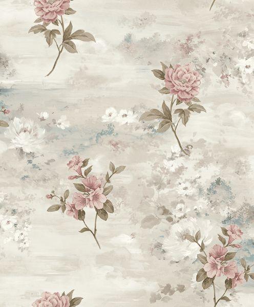 Papel de Parede Kantai Vinílico Coleção Poet Chart 3 Floral Bege, Creme, Verde, Rosa, Baixo relevo
