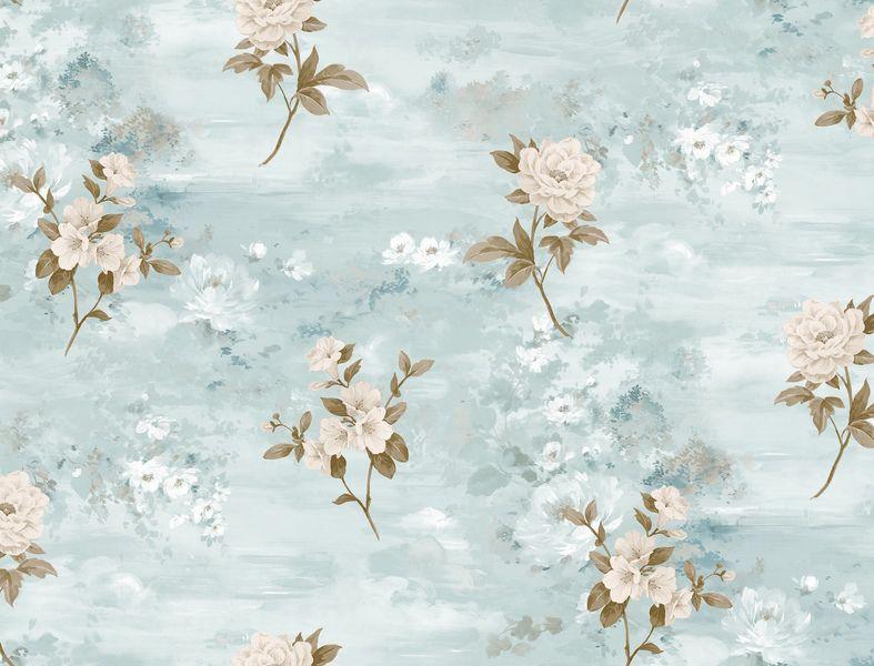 Papel de Parede Kantai Vinílico Coleção Poet Chart 3 Floral Textura Tons azul claro, creme, Marrom, Baixo relevo