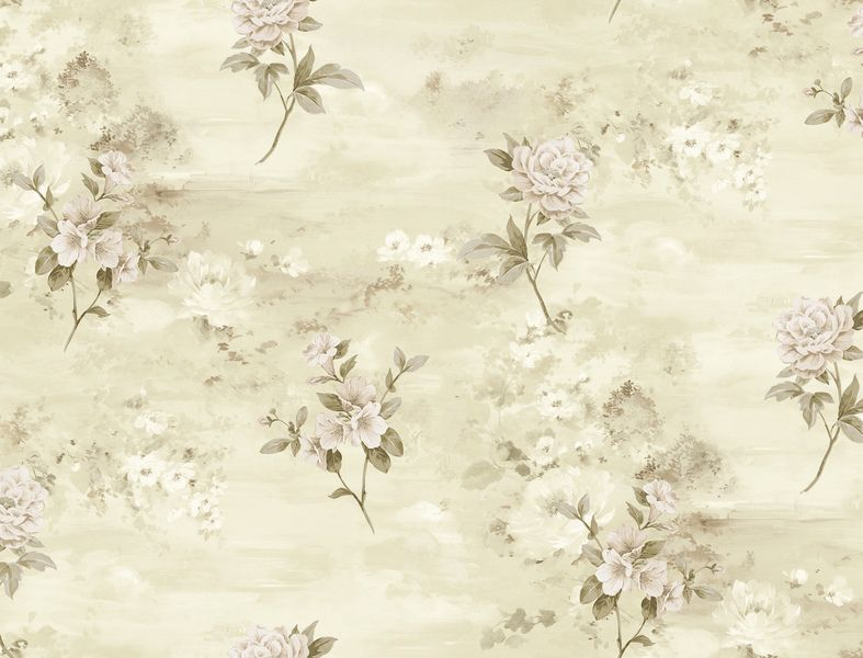 Papel de Parede Kantai Vinílico Coleção Poet Chart 3 Floral Bege claro, Rosa Claro, Marrom claro, Detalhes, Baixo relevo
