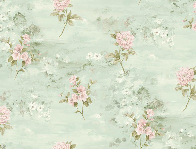 Papel de Parede Kantai Vinílico Coleção Poet Chart 3 Floral Verde, Creme, Rosa, Baixo relevo