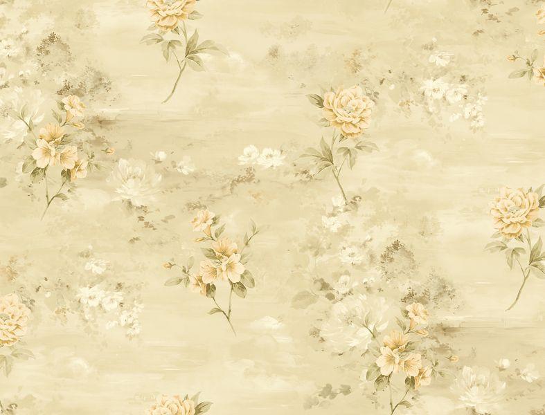 Papel de Parede Kantai Vinílico Coleção Poet Chart 3 Floral Tons Bege, Creme, Dourado, Baixo relevo