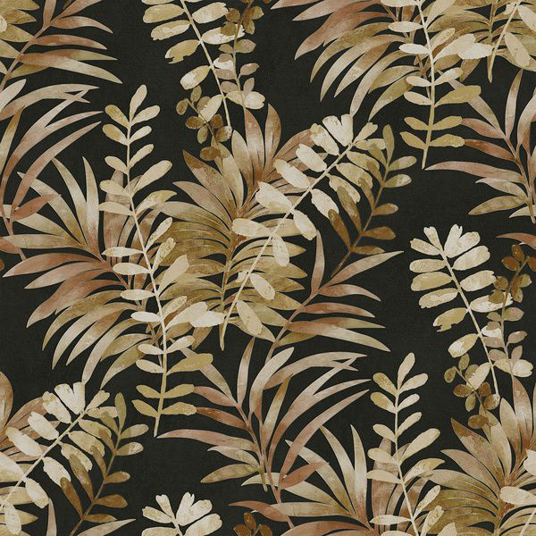 Papel de Parede Kan Tai  Vinílico Coleção Poet Chart 3 Folhagem Preto, Amarelo, Verde, Baixo Relevo