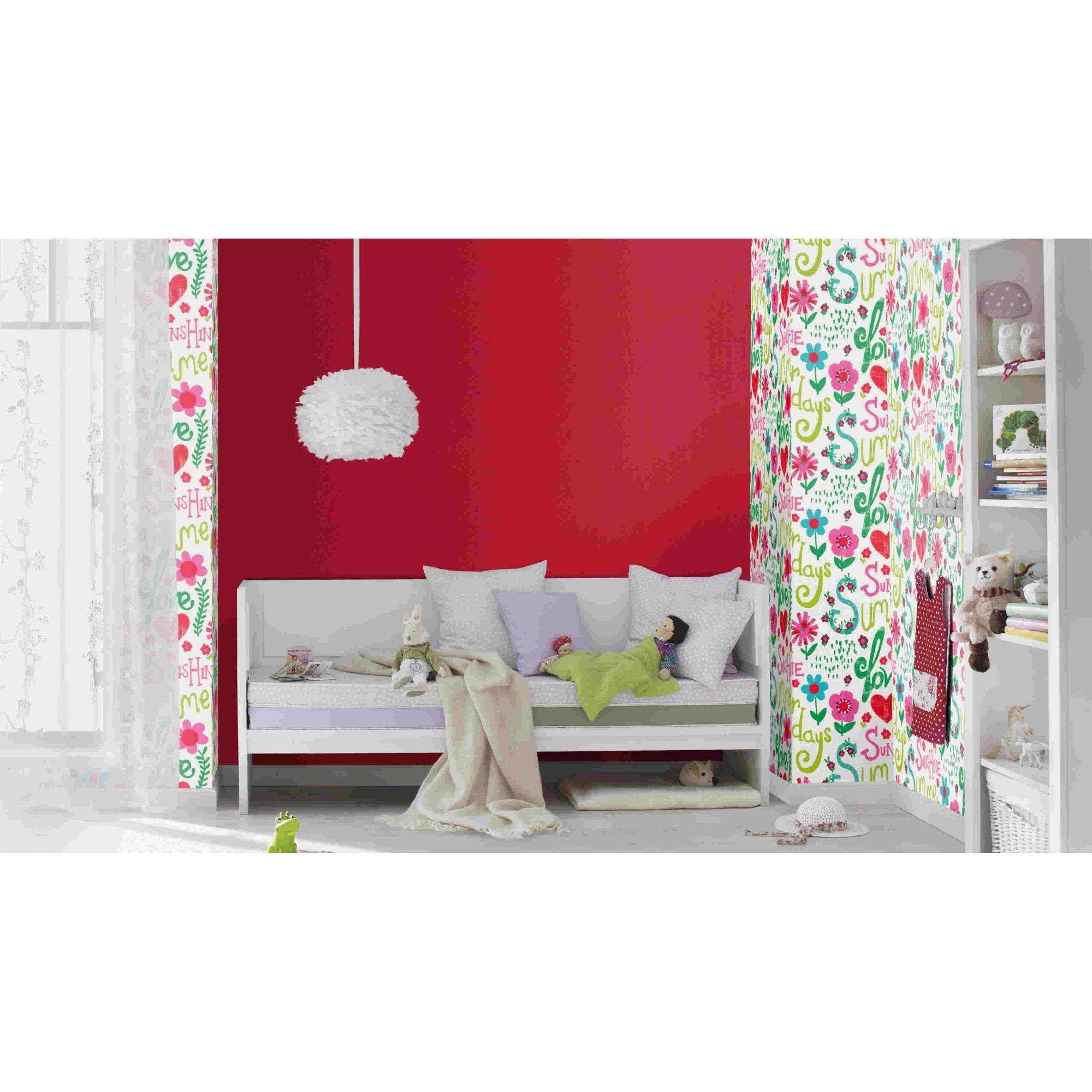 Papel de Parede Finottato Non Woven Coleção Tic Tac ii Floral Palavras  Rosa, Branco Verde, Vermelho, Verde