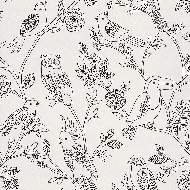 Papel de Parede Finottato Non Woven Coleção Tic Tac II Floral Pássaros Preto, Branco