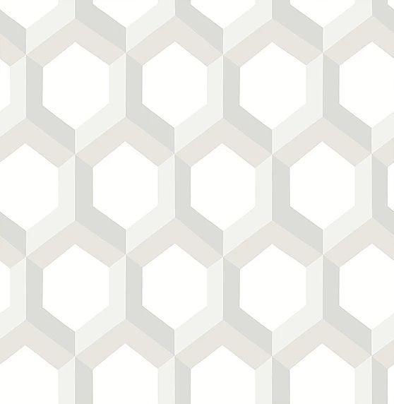 Papel de parede Finottato Non Woven Coleção Twist Geométrico 3D Branco, Cinza, Bege