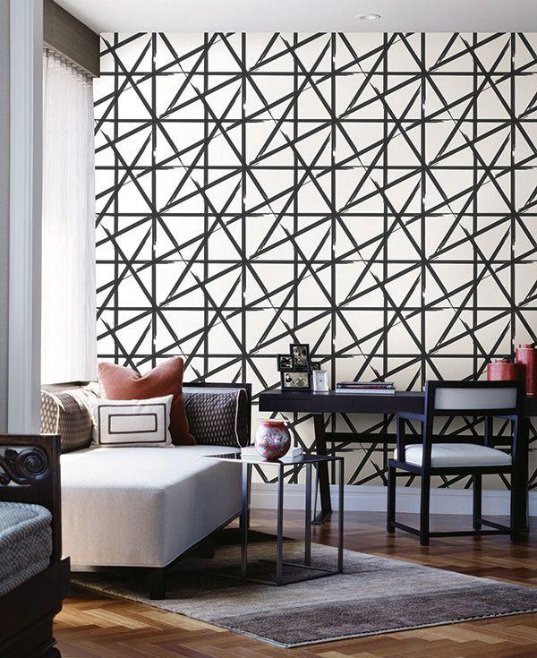 Papel de parede Finottato Non Woven Coleção Twist Geométrico Rabisco Branco, Preto