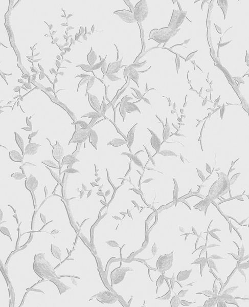 Papel de Parede Finottato Non Woven Coleção Temper  Galhos Glitter Cinza Claro