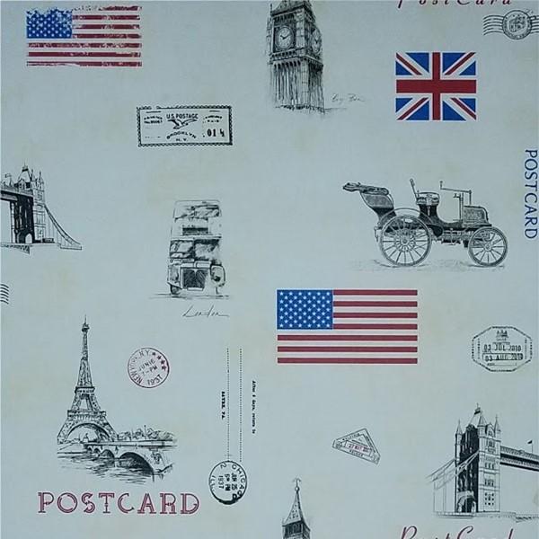 Papel de Parede Paris Decor Vinílico Juvenil Coleção Versailles Cartão postal Londres, Estados Unidos, Branco, Vermelho, Azul