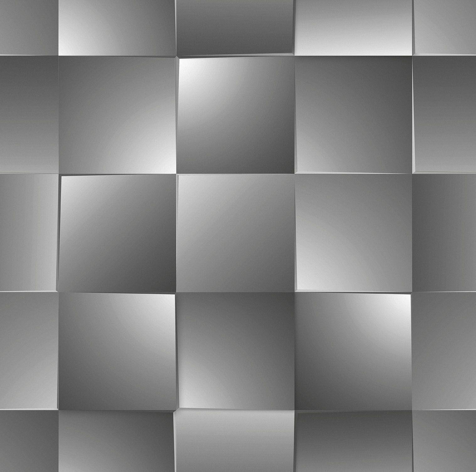 Papel de parede Bobinex Vinílico Coleção Dimensões Geométrico 3D Quadrado Preto, Marfim