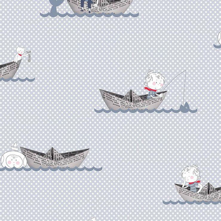 Papel de parede Infantil Bobinex Coleção Renascer Barquinhos Azul claro, Branco, Cinza