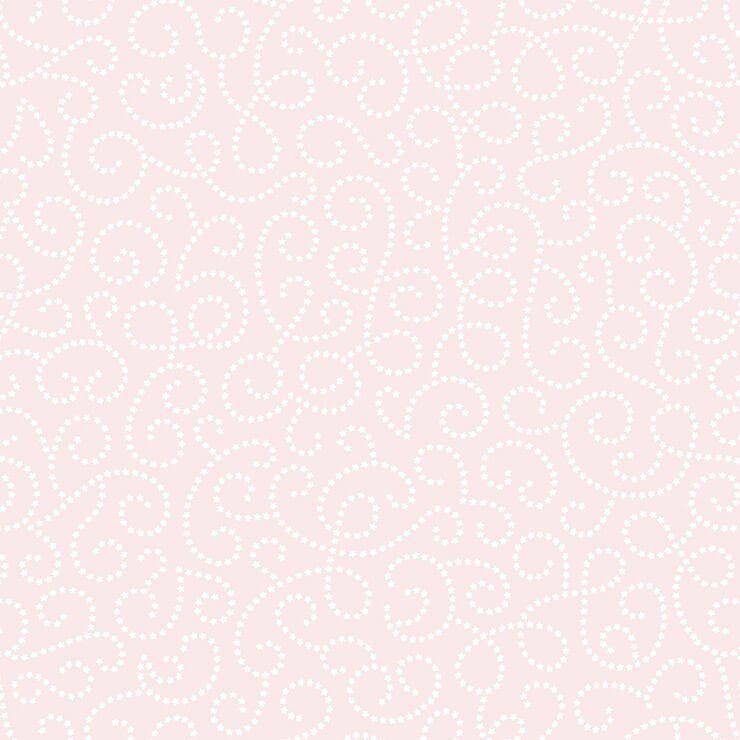 Papel de parede Infantil Bobinex Coleção Renascer Arabesco Flor Rosa, Branco